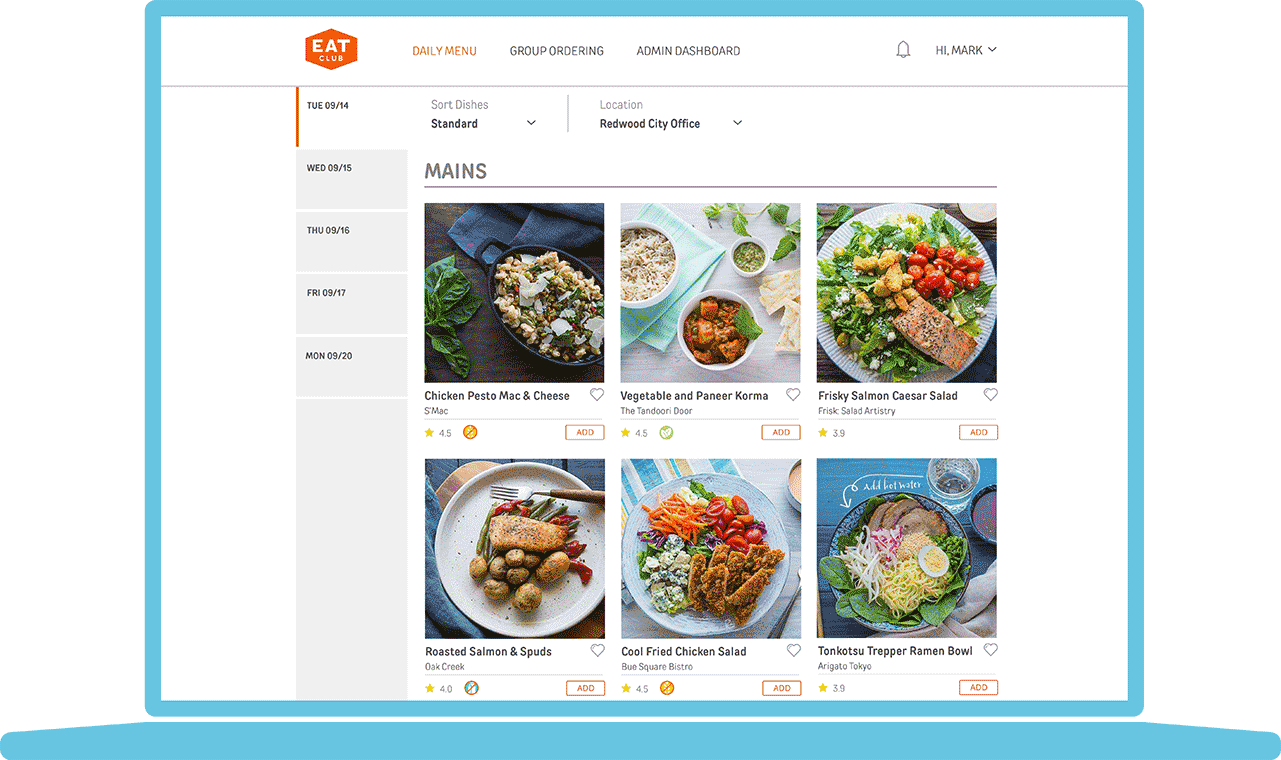 A preview of EAT Club's menu interface
